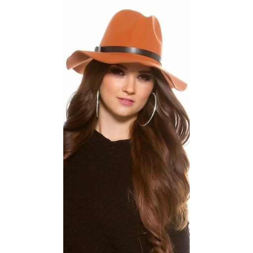 Sombrero boho de fieltro color ocre