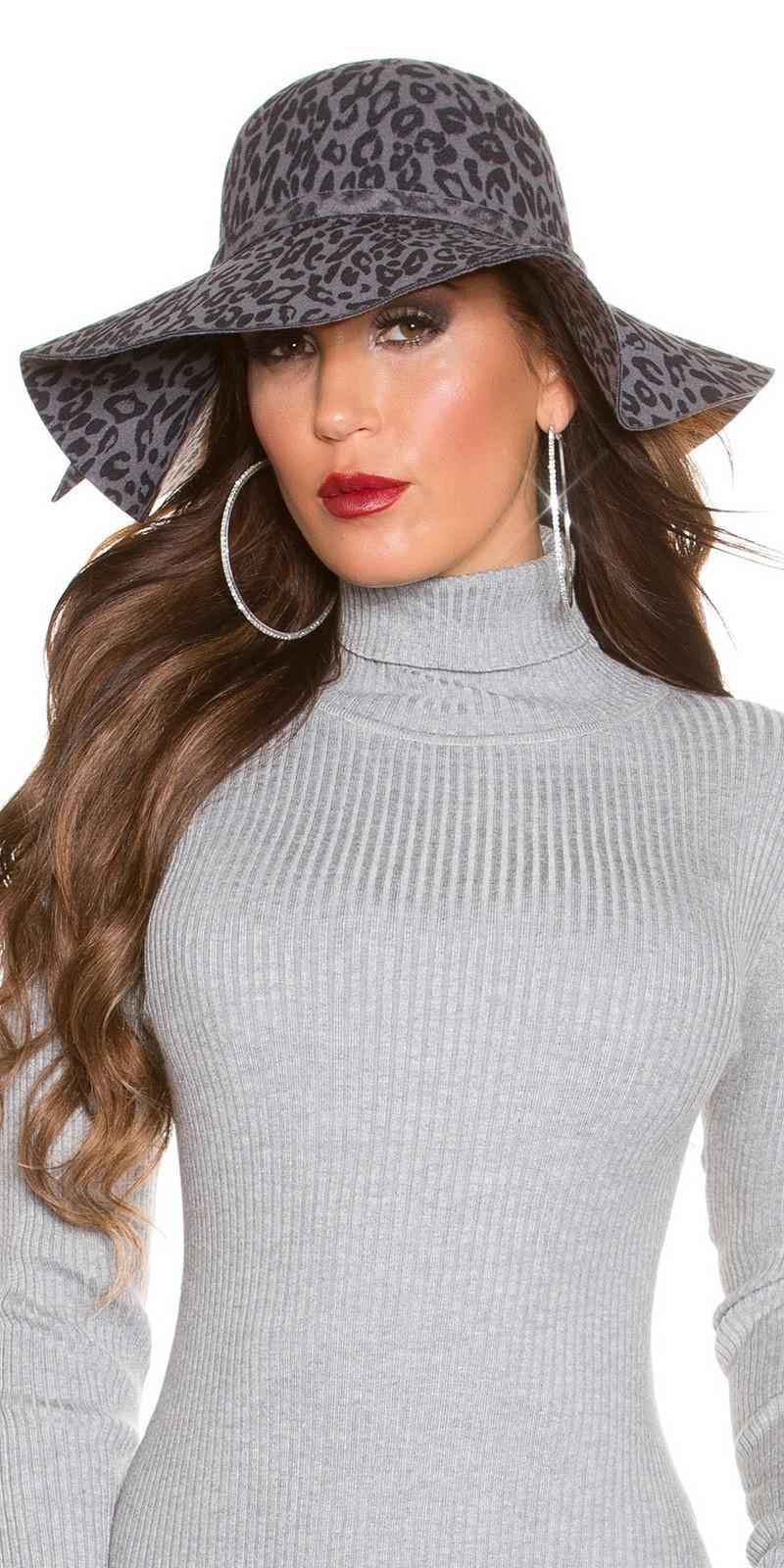 Sombrero animal print antracita