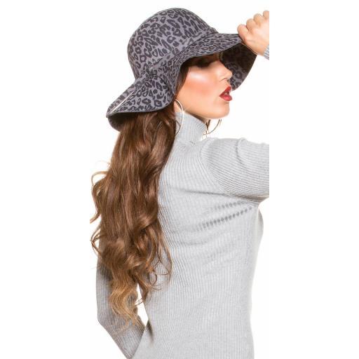 Sombrero animal print antracita [2]