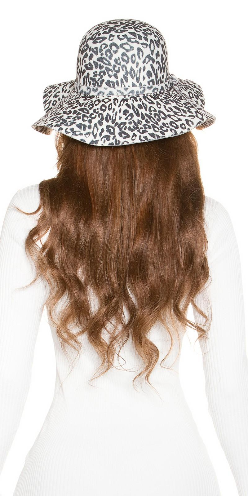 Sombrero animal print blanco