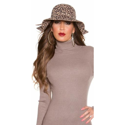 Sombrero animal print beige