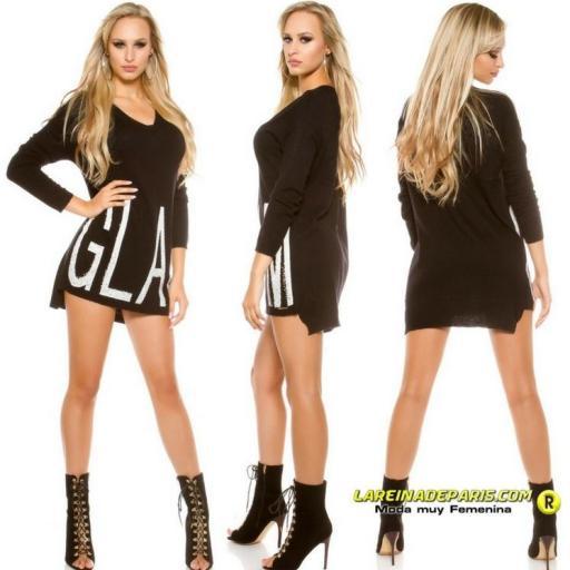 Fahion suéter largo Glam negro