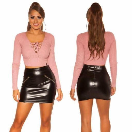 Suéter rosa acanalado y acordonado   [1]