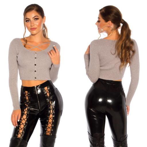 Suéter crop gris