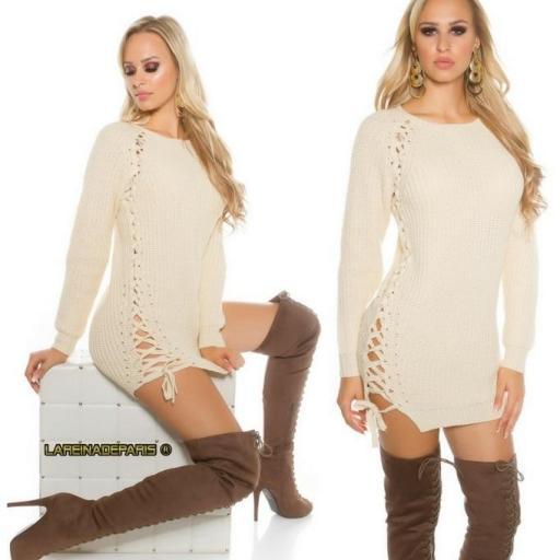 Suéter beige con lazos laterales  [2]