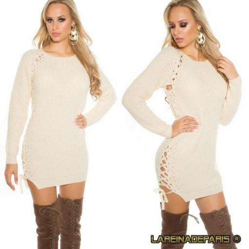 Suéter beige con lazos laterales  [1]