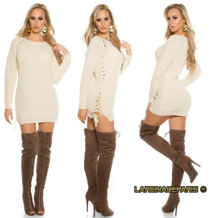 Suéter beige con lazos laterales