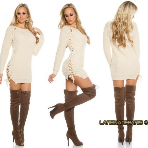 Suéter beige con lazos laterales  [3]