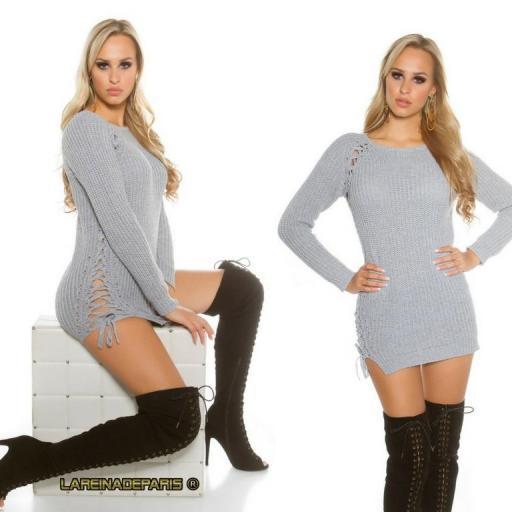 Suéter gris con lazos laterales  [1]