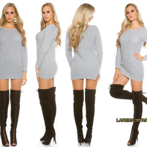 Suéter gris con lazos laterales