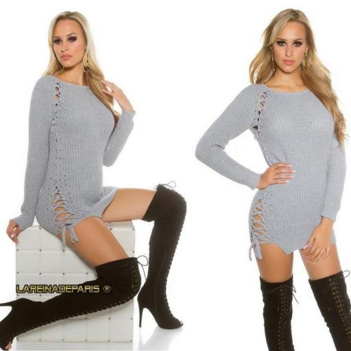 Suéter gris con lazos laterales  [3]