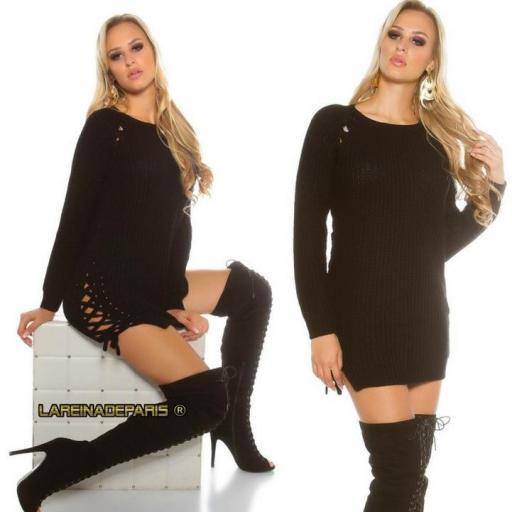 Suéter negro con lazos laterales  [1]