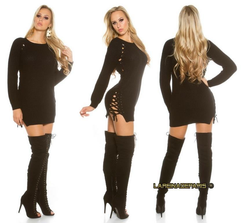 Suéter negro con lazos laterales