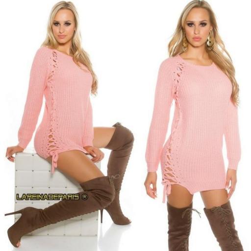 Suéter rosa con lazos laterales  [1]