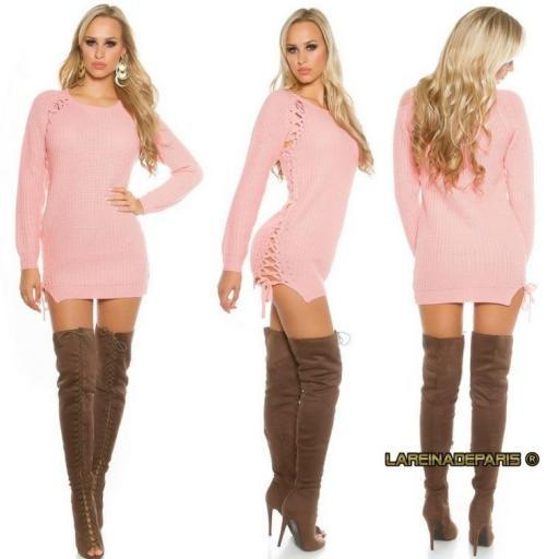 Suéter rosa con lazos laterales