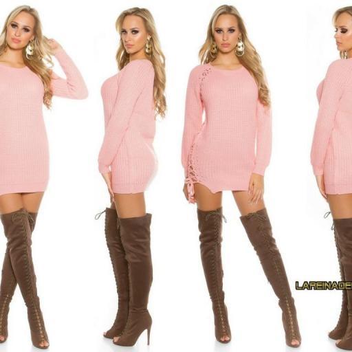 Suéter rosa con lazos laterales  [2]