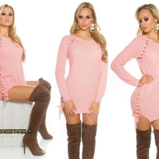 Suéter rosa con lazos laterales  [3]