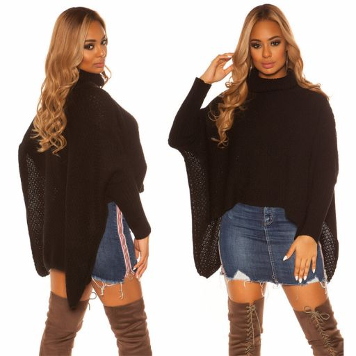 Suéter tipo poncho negro