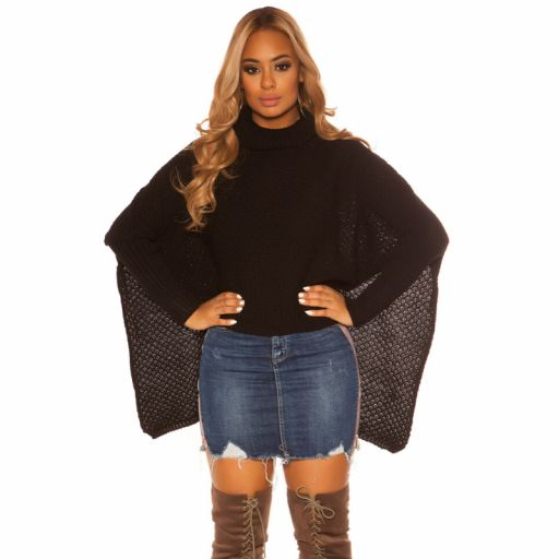 Suéter tipo poncho negro [1]