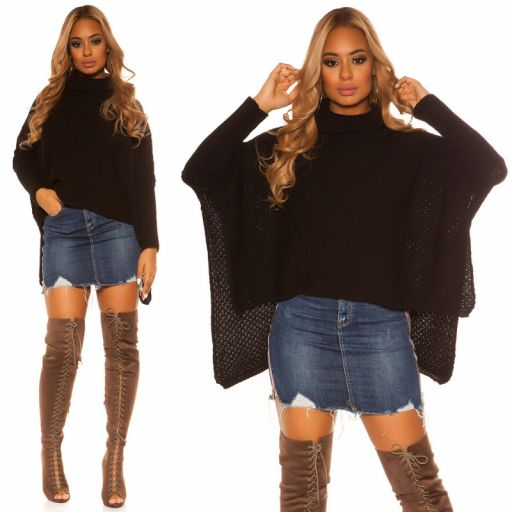 Suéter tipo poncho negro [3]