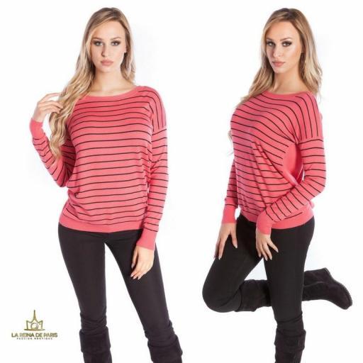 Suéter coral escotado por detrás [2]