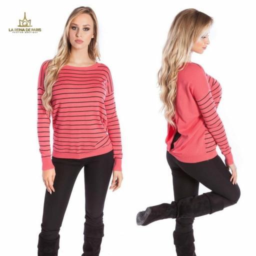 Suéter coral escotado por detrás [3]
