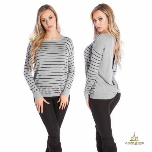 Suéter gris escotado por detrás [3]