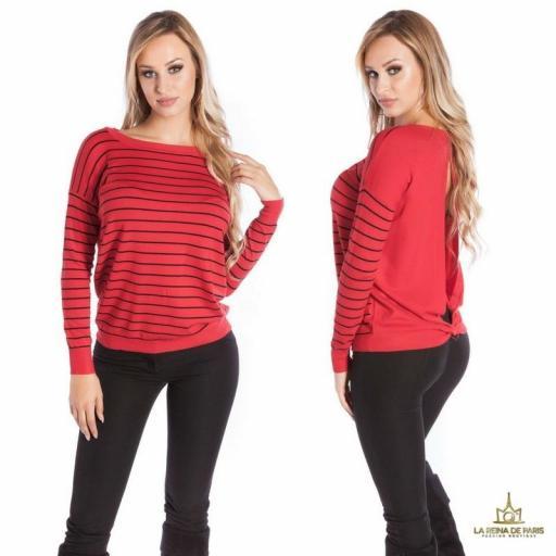 Suéter rojo escotado por detrás [1]