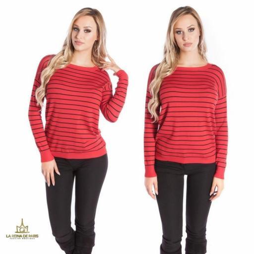 Suéter rojo escotado por detrás [2]