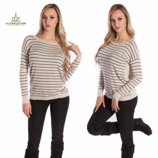 Suéter beige escotado por detrás [3]