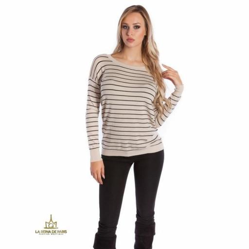 Suéter beige escotado por detrás [2]