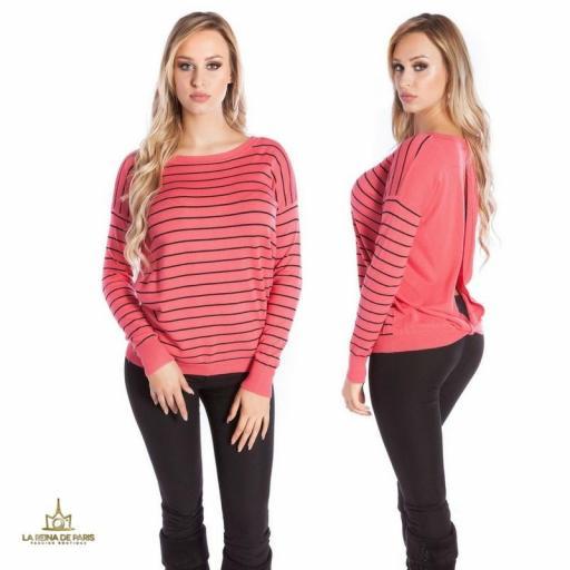 Suéter coral escotado por detrás [1]