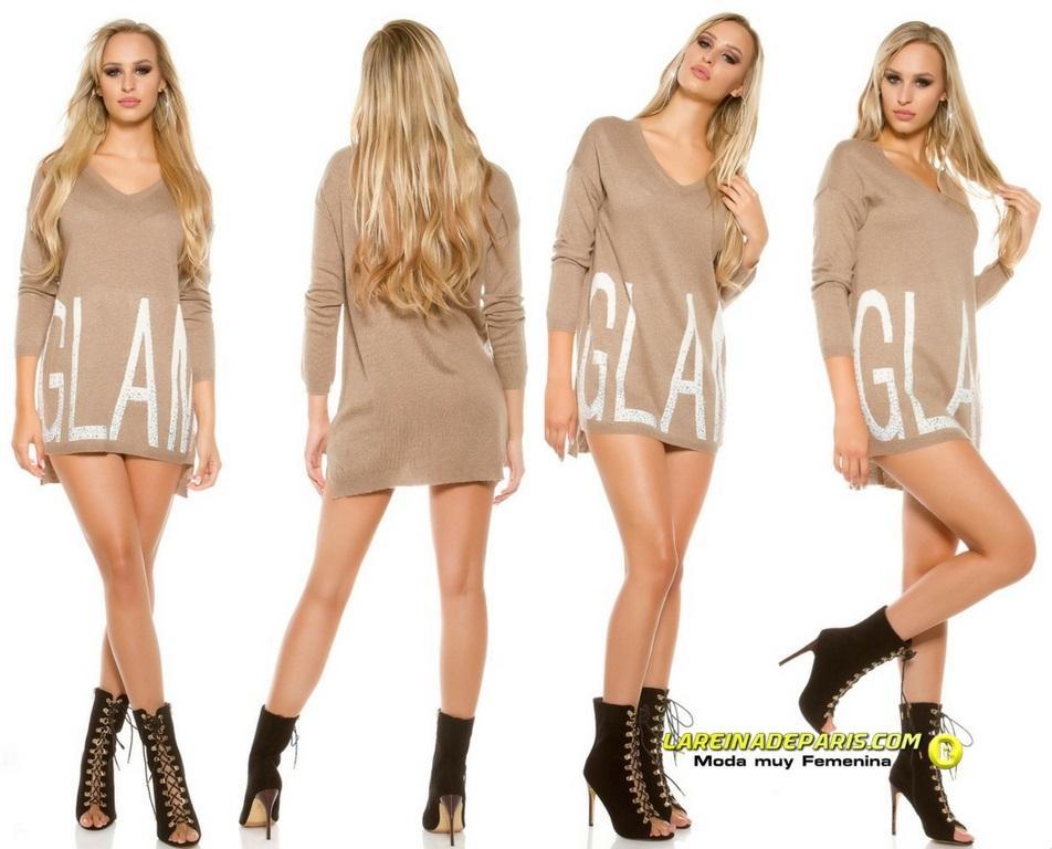 Suéter largo Glam con letras brillantes