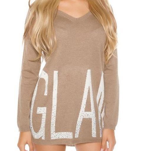 Suéter largo Glam con letras brillantes [1]
