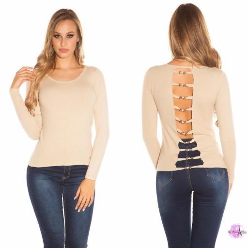 Suéter minimalista beige