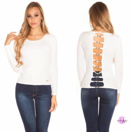 Suéter minimalista blanco