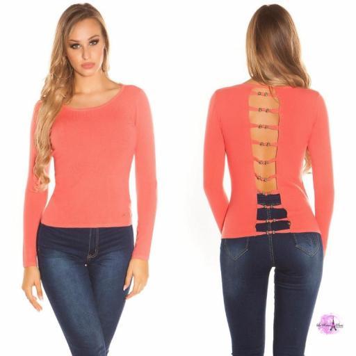 Suéter minimalista coral