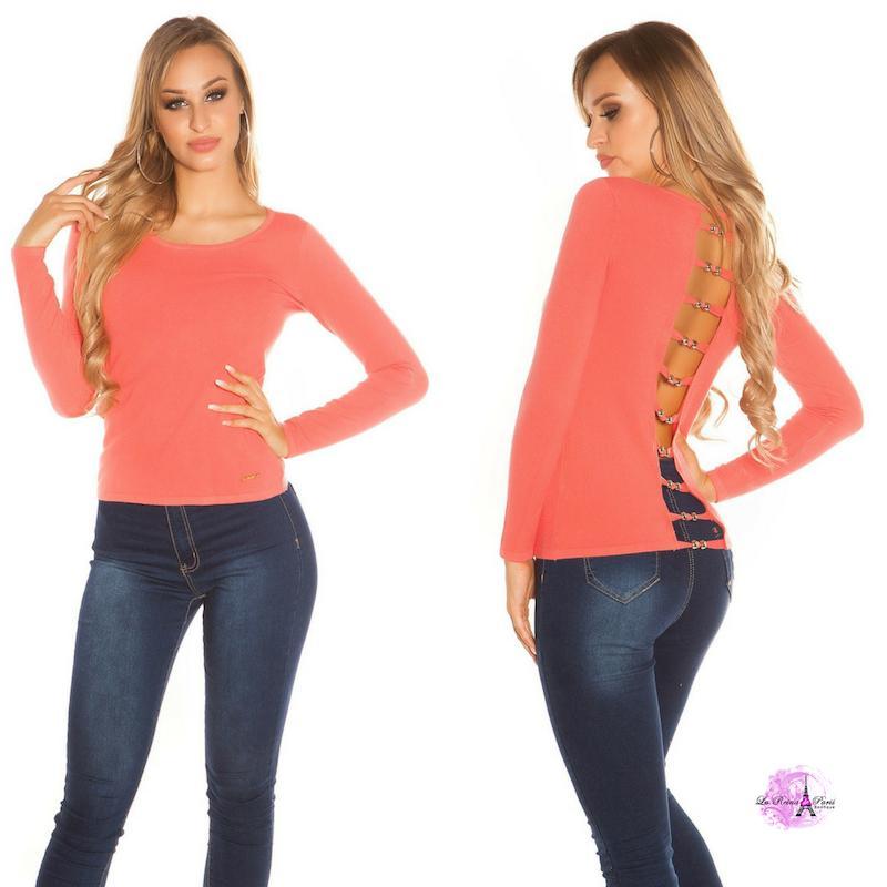 Suéter coral espalda descubierta trendy