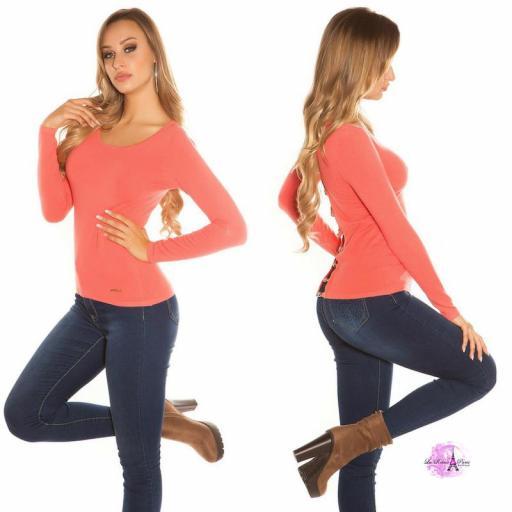 Suéter coral espalda descubierta trendy [3]
