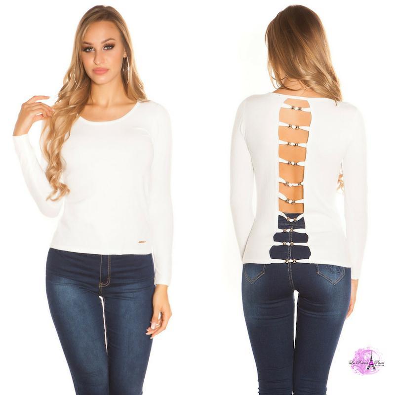 Suéter blanco espalda descubierta trendy