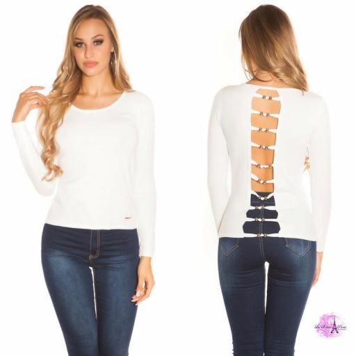 Suéter blanco espalda descubierta trendy [0]