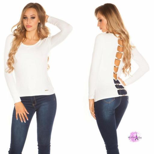 Suéter blanco espalda descubierta trendy [1]