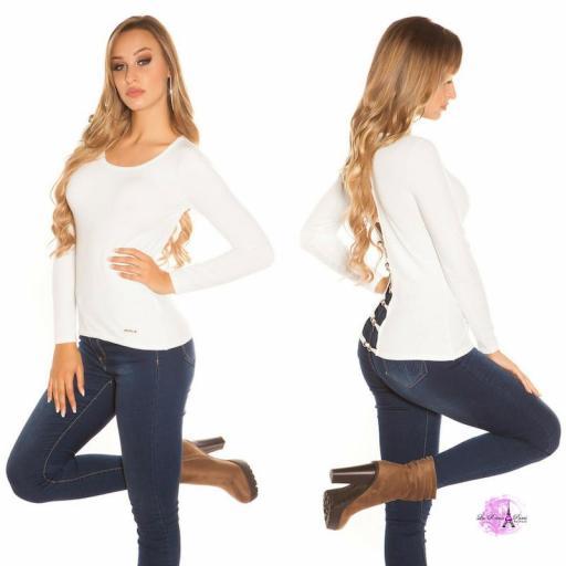 Suéter blanco espalda descubierta trendy [2]