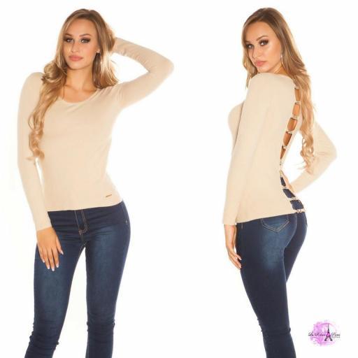 Suéter beige espalda descubierta trendy [0]