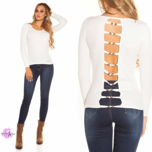 Suéter blanco espalda descubierta trendy [3]