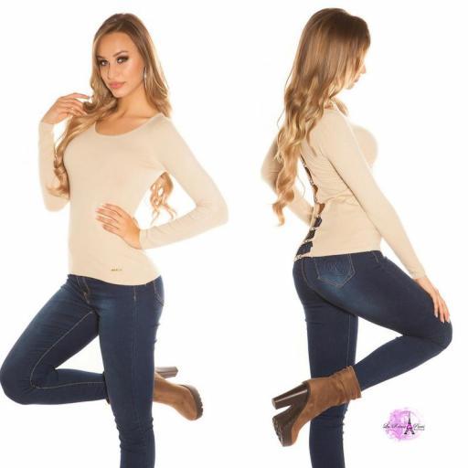 Suéter beige espalda descubierta trendy [2]