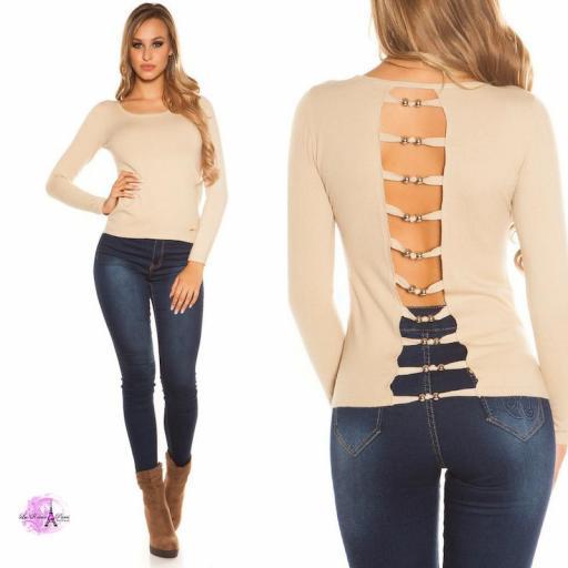 Suéter beige espalda descubierta trendy [3]