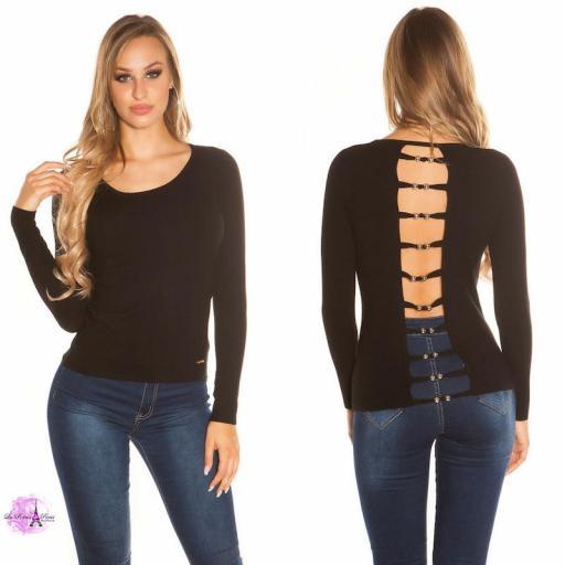 Suéter negro espalda descubierta trendy