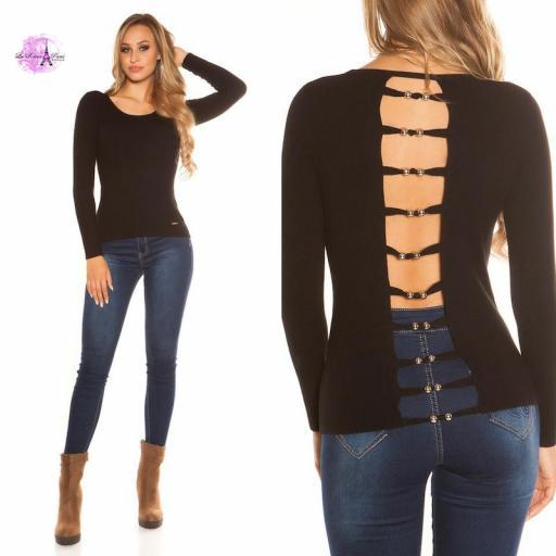Suéter negro espalda descubierta trendy [3]