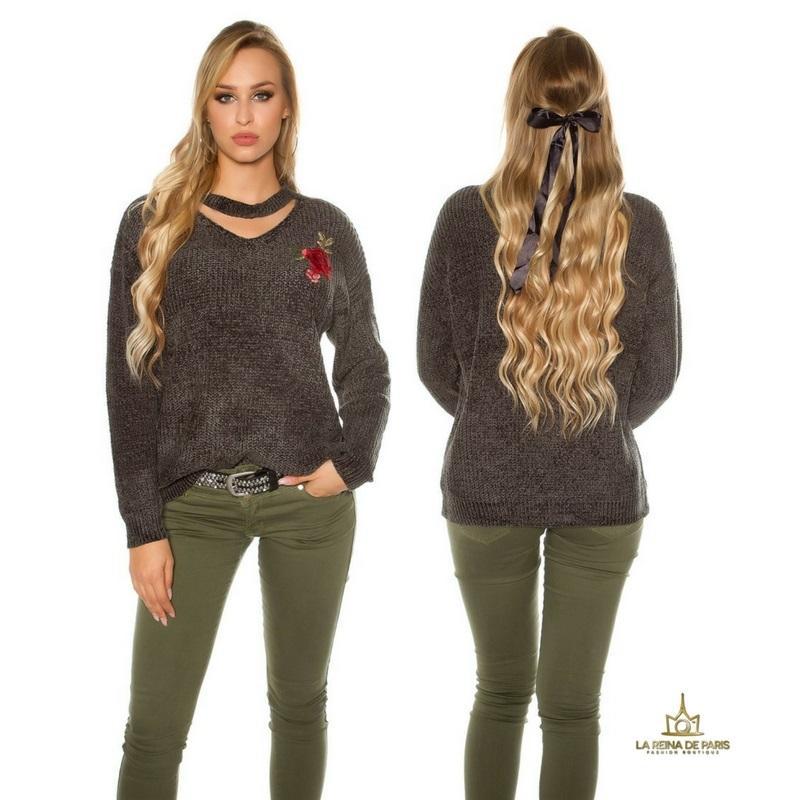 Suéter bordado oversize khaki